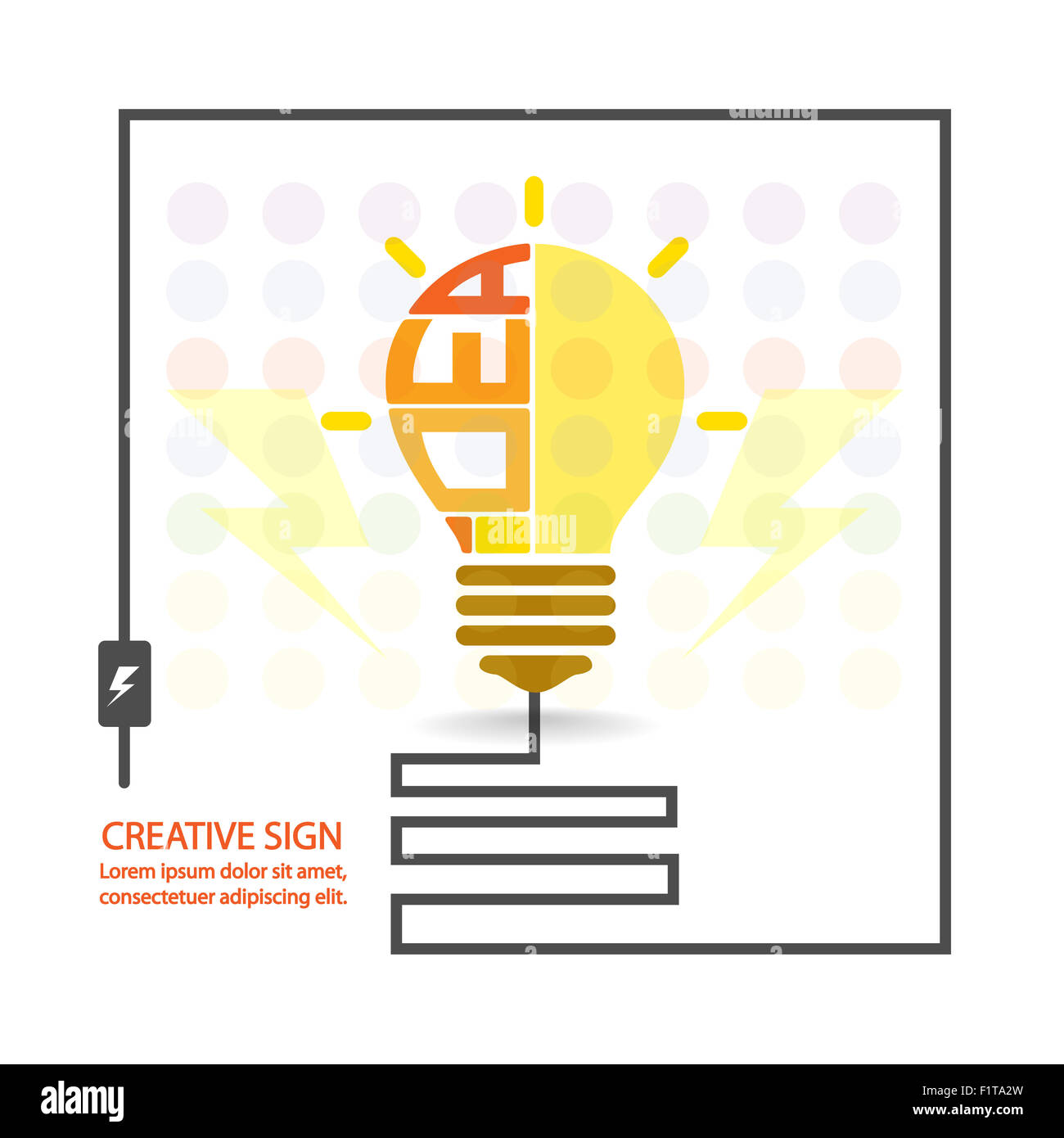 creative light bulb,saving sign,ideas concepts,business background.vector illustration Stock Photo