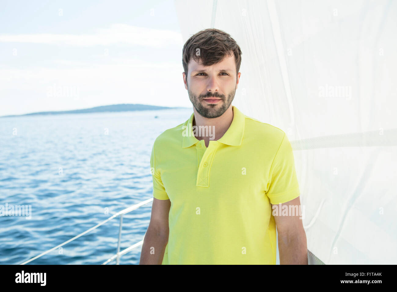 Portrait of man on sailboat, Adriatic Sea - Stock Image