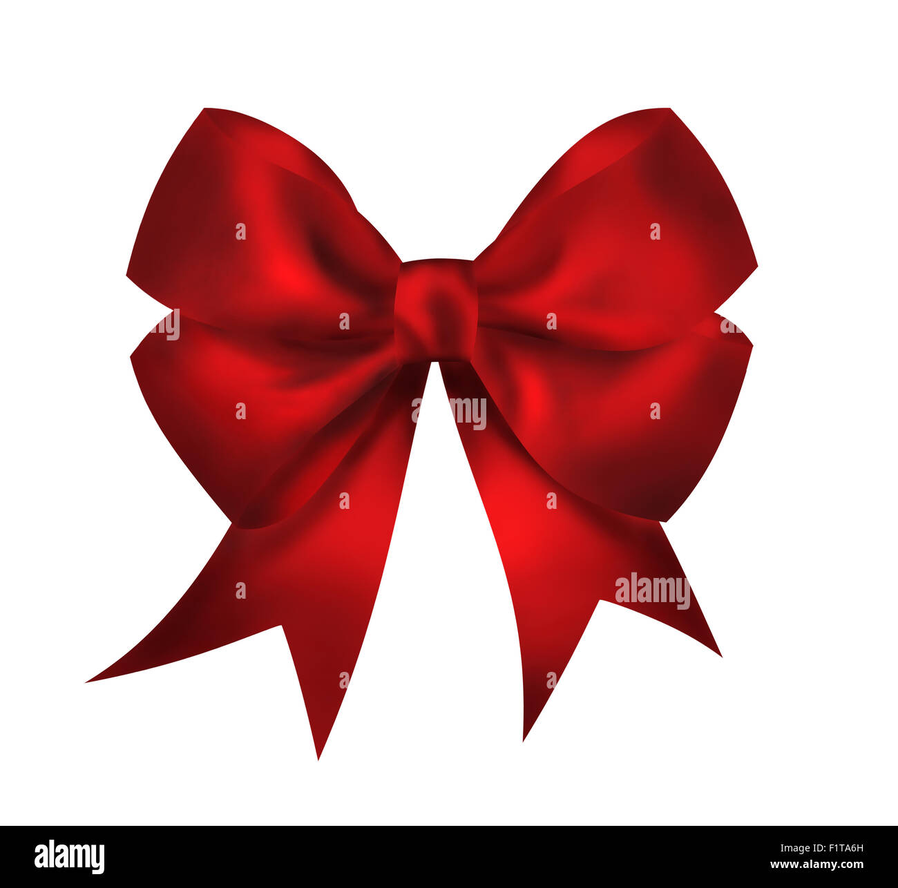 Realistic bright red bow isolated on white background. Closeup illustration - Stock Image
