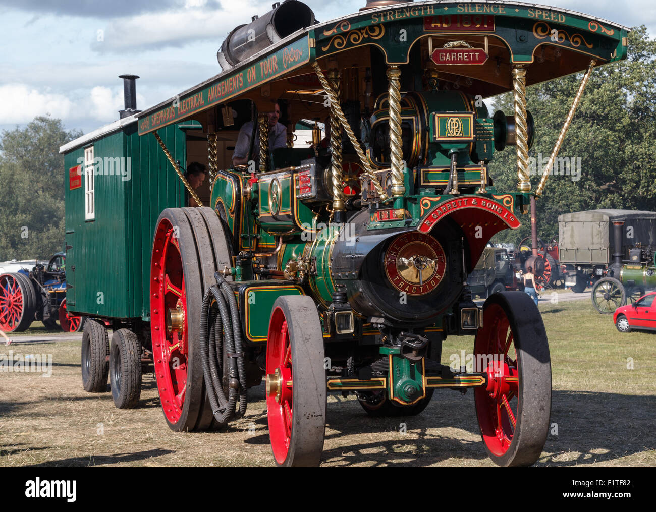 Steam Traction Engine with trailer - Stock Image