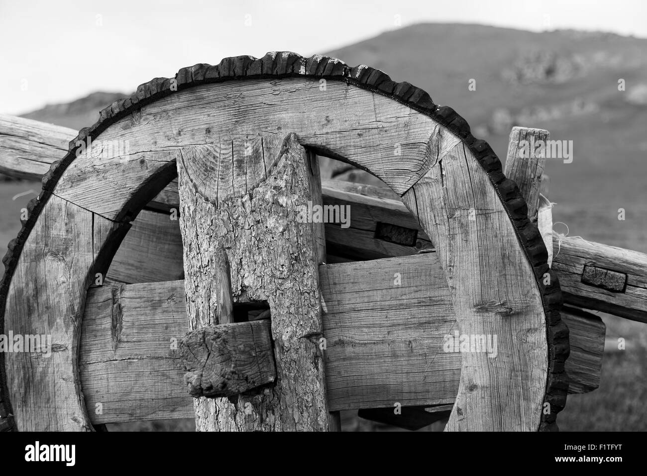 Old Wooden Wheel - Stock Image
