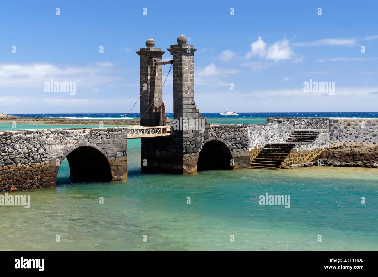 Puente de las Bolas (Bridge of the Balls) drawbridge Arrecife capital city of Lanzarote, Canary Islands, Spain. Stock Photo