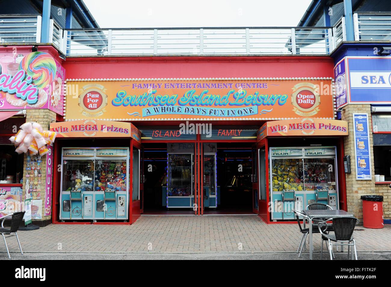 Southsea Portsmouth Hampshire UK - Southsea Island Leisure amusement arcade on the seafront Stock Photo