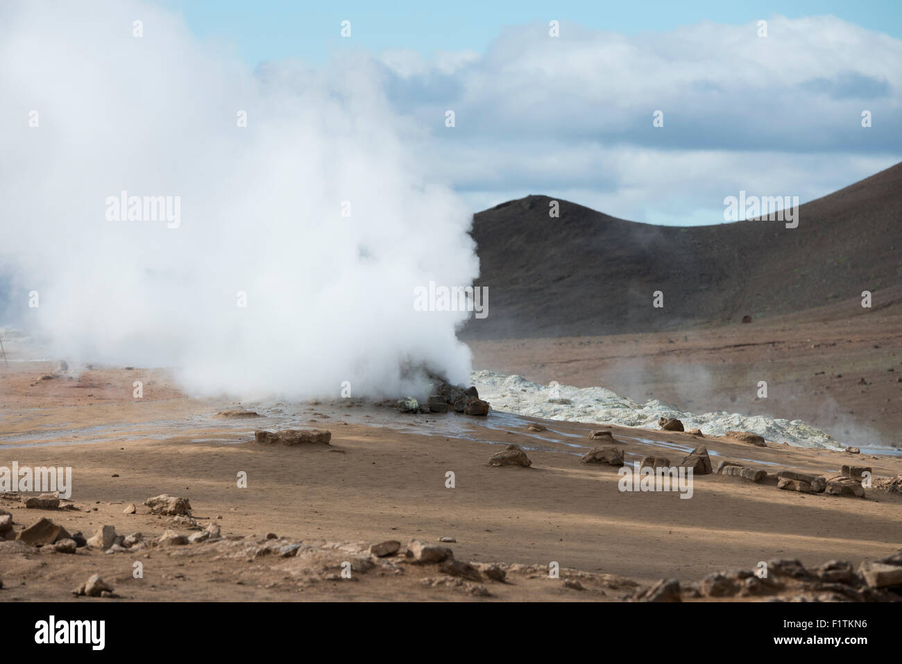 Iceland, Northeast Iceland, Namaskard. Namafjall (aka Hverir) geothermal fields. Active steaming fumaroles. - Stock Image