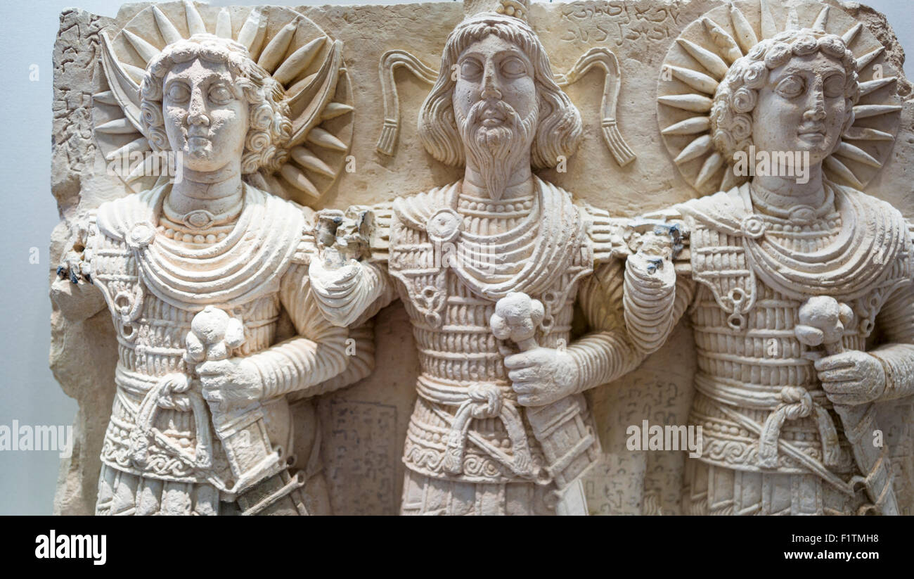 The Divine Triad: Detail. Three gods dressed in roman military uniforms. Discovered near  Palmyra. - Stock Image