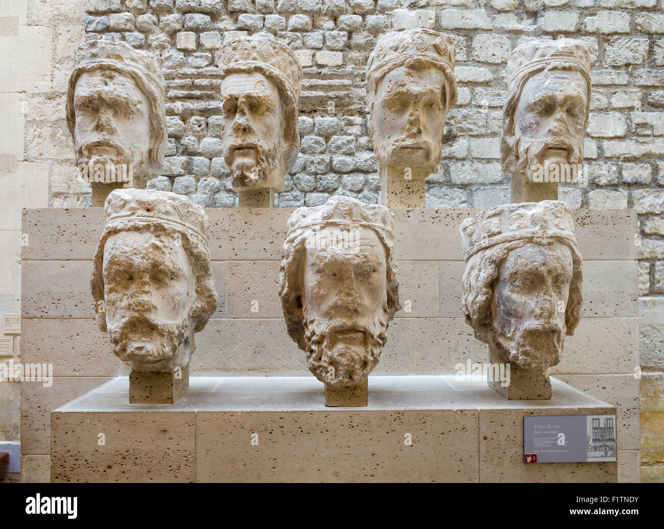 Seven French Kings as sculpted heads. Sculptures of French Kings heads from 1220 originally adorned the front of - Stock Image