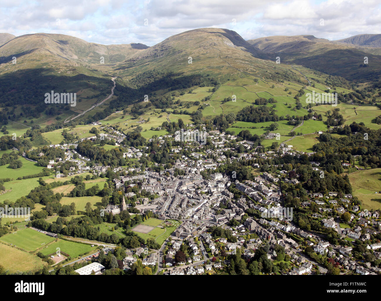 aerial view of Ambleside at the top of Lake Windermere, Cumbria, UK - Stock Image