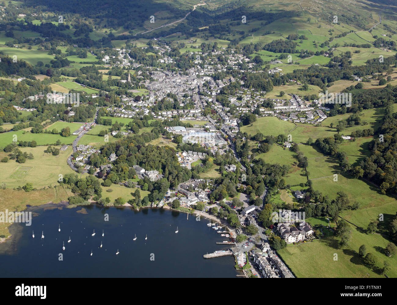 aerial view of Waterhead & Ambleside at the top of Lake Windermere, Cumbria, UK - Stock Image