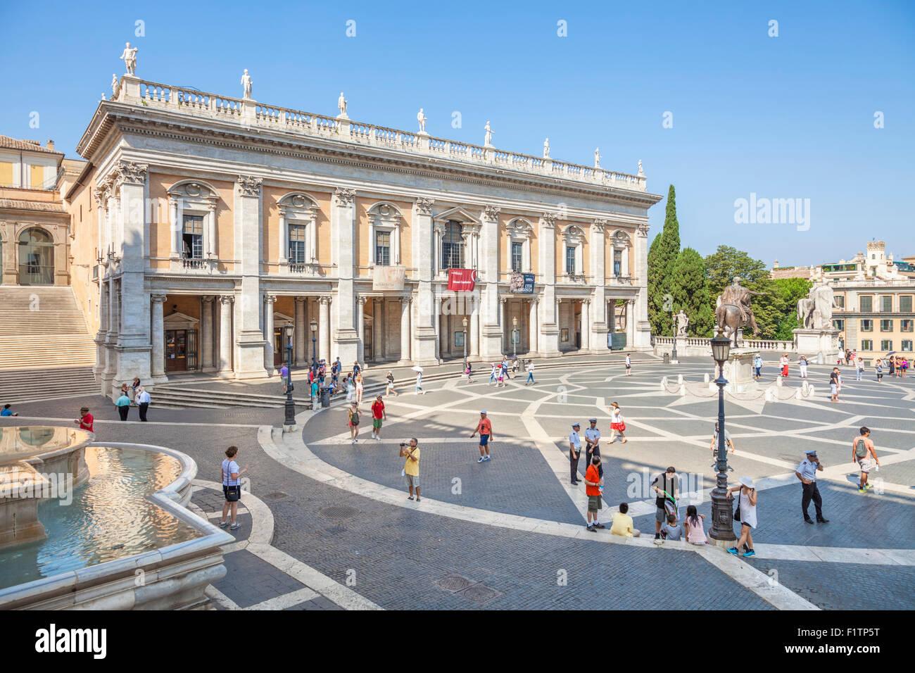 Tourists at Palazzo dei Conservatori  Musei Capitolini Capitoline museum Piazza del Campidoglio Rome Roma Lazio Italy EU Europe Stock Photo