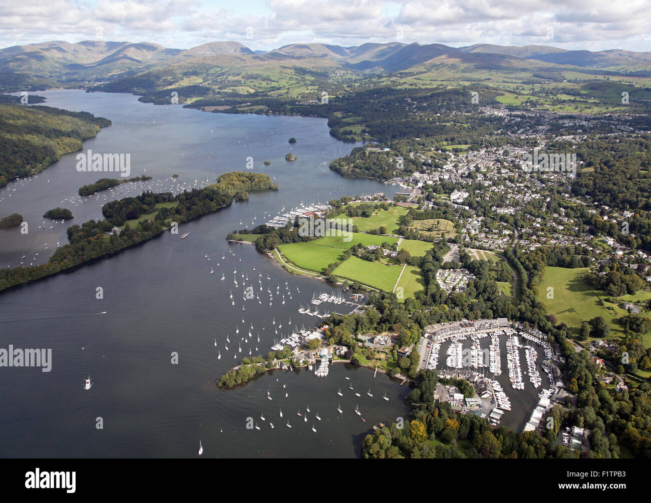 aerial view of Bowness and Windermere at Lake Windermere, Cumbria, UK - Stock Image