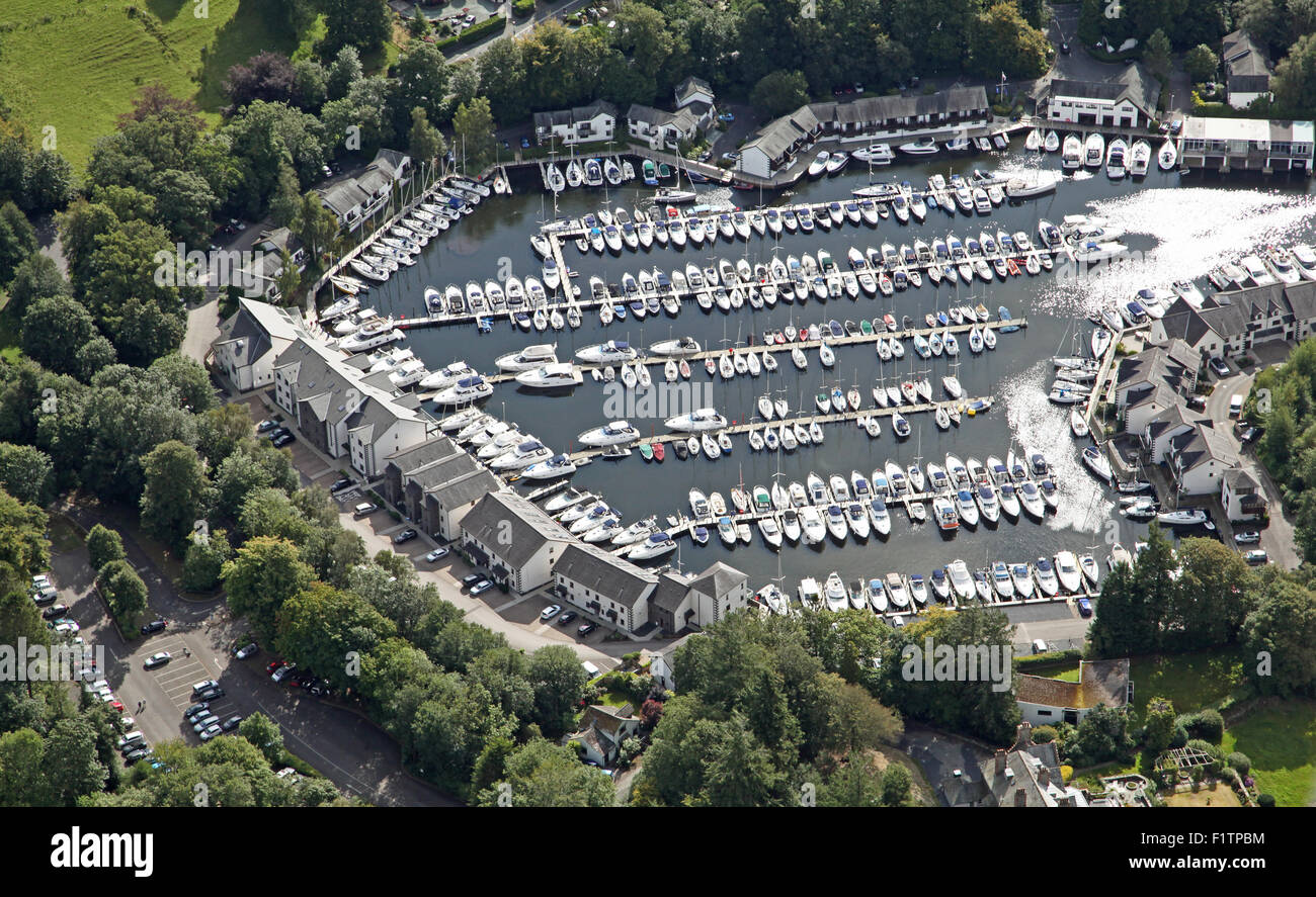 aerial view of Windermere Marina village in the Lake District, Cumbria, UK - Stock Image