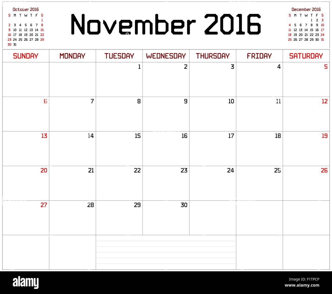 a monthly planner calendar for november 2016 on white a custom