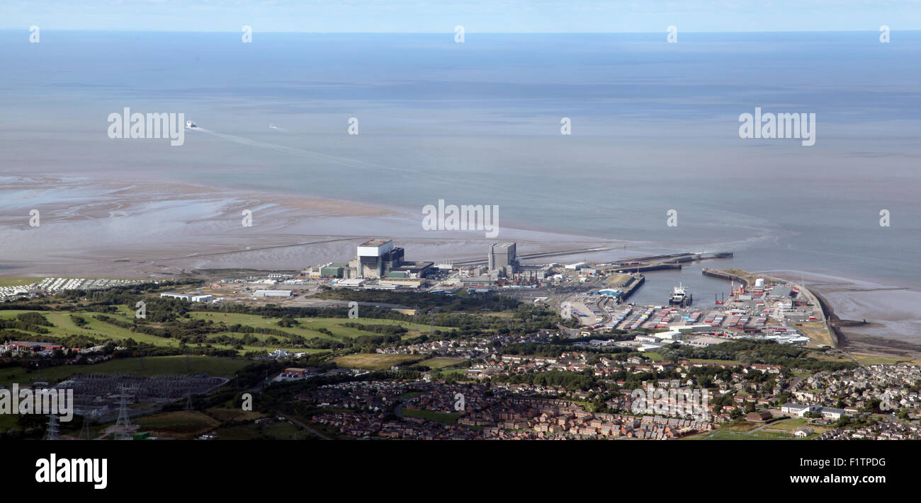 aerial view of Heysham in Lancashire with its two nuclear power station and a harbour, UK - Stock Image