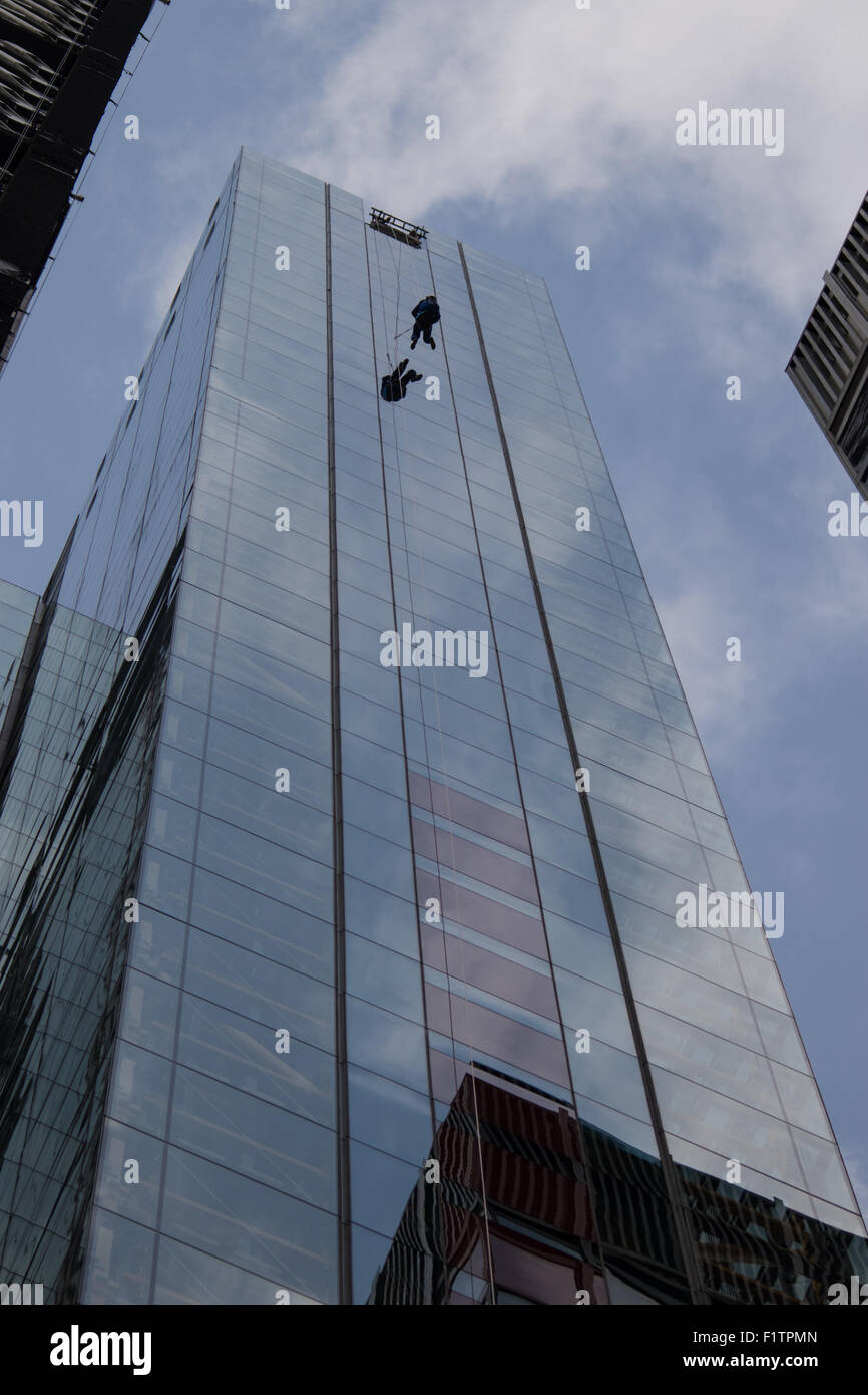 London, UK. September 7th 2015. PICTURED: Bill Roberts of Clogau Goldmine abseils down the side of 20 Fenchurch Stock Photo