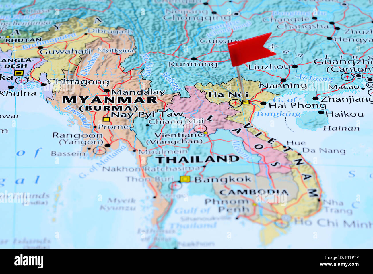 Hanoi pinned on a map of Asia Stock Photo: 87211286 - Alamy