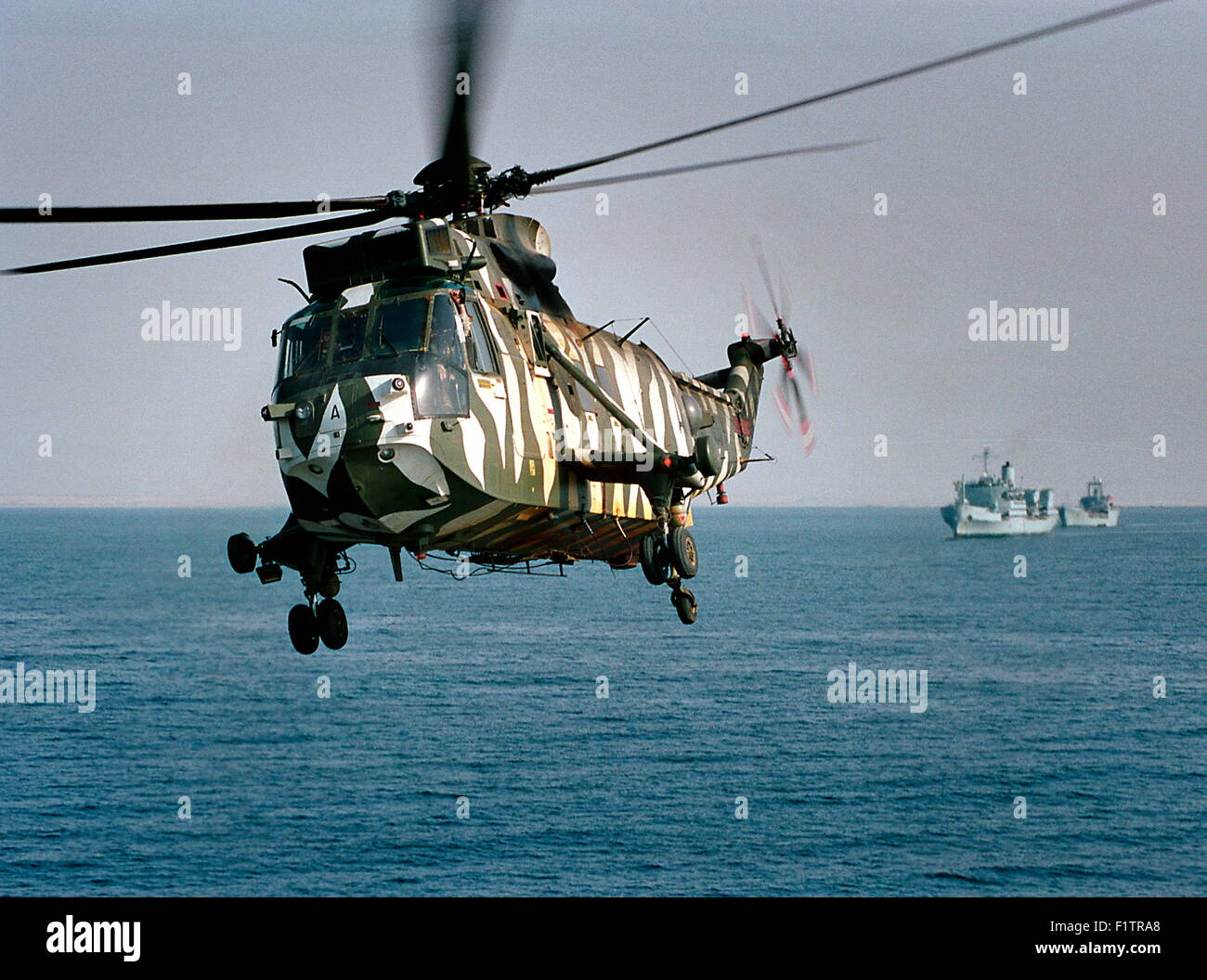 AJAX NEWS & FEATURE SERVICE. (OMA-42).6 OCT 2001.OMAN. A ROYAL NAVAL SEA KING HELICOPTER LIFTS OFF FROM HMS - Stock Image