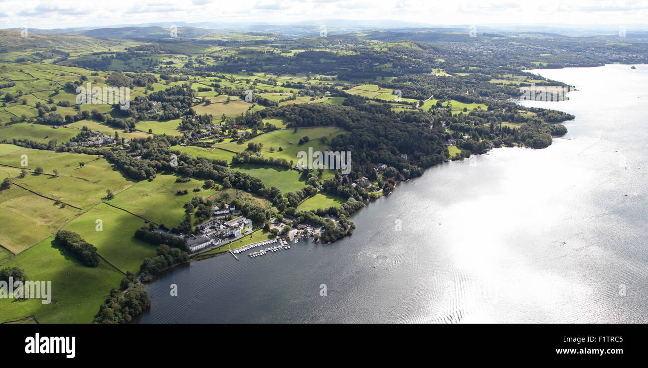 aerial view of Low Wood Watersports Centre and Lake Windermere, Cumbria, UK - Stock Image