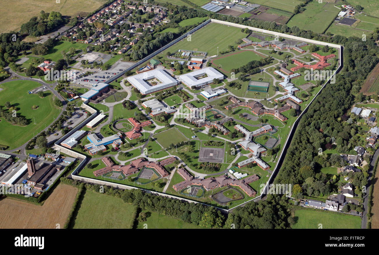 aerial view of HMP Kennet & Ashworth Psychiatric Hospital, Parkbourne, Maghull, Liverpool, UK - Stock Image