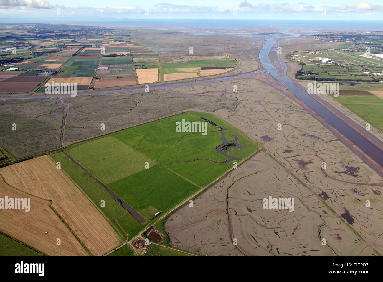aerial view of reclaimed farm land in the Ribble Estuary at Hutton, Lancashire, UK Stock Photo