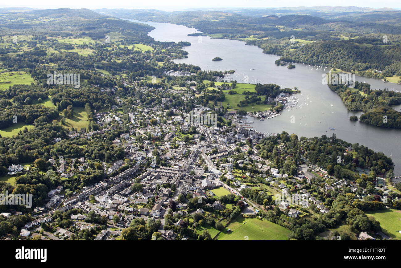 aerial view of Bowness and Windermere on Lake Windermere, Cumbria, UK - Stock Image