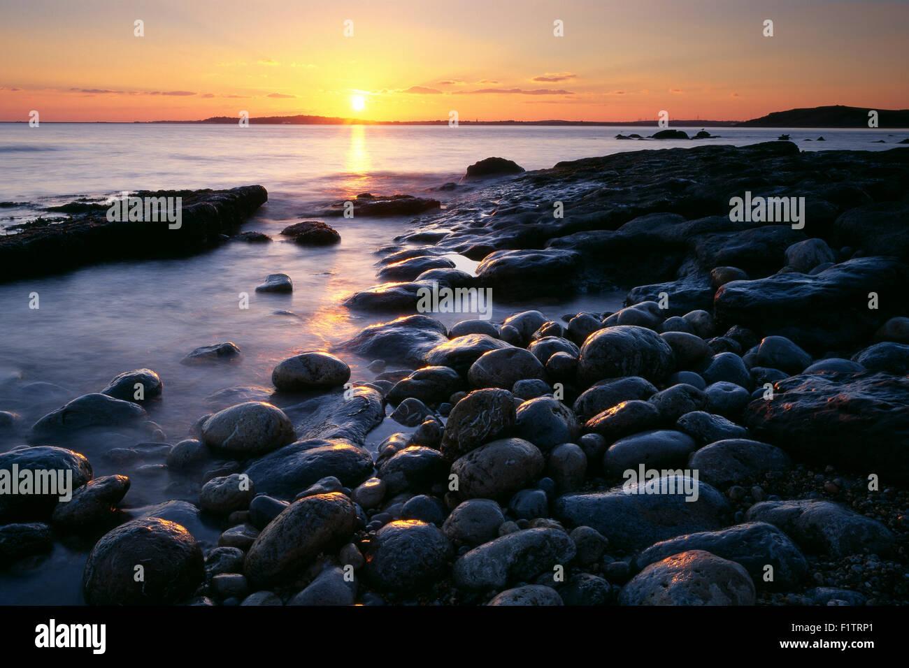 Coastline at Osmington Mills at sunset on Dorset's Jurassic Coast, England, UK. Stock Photo