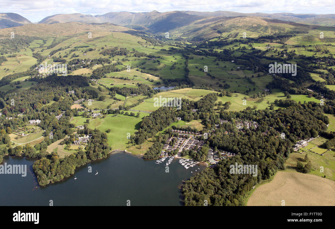 aerial view of White Cross Bay at Troutbeck Bridge, Windermere, Lake District, UK - Stock Image