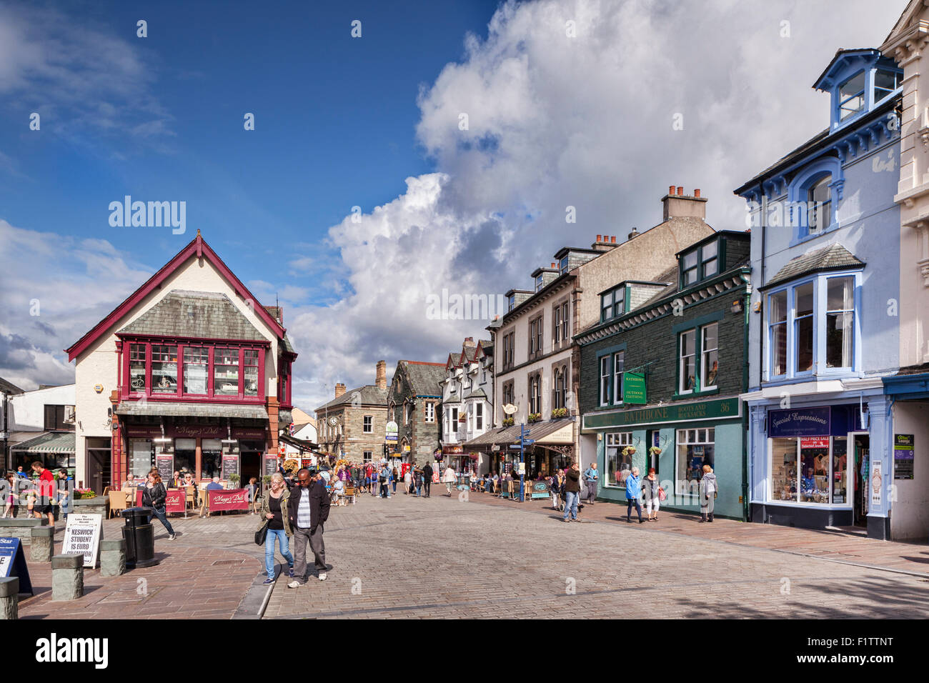 Pedestrian shopping area in the centre of Keswick in Cumbria, UK. - Stock Image