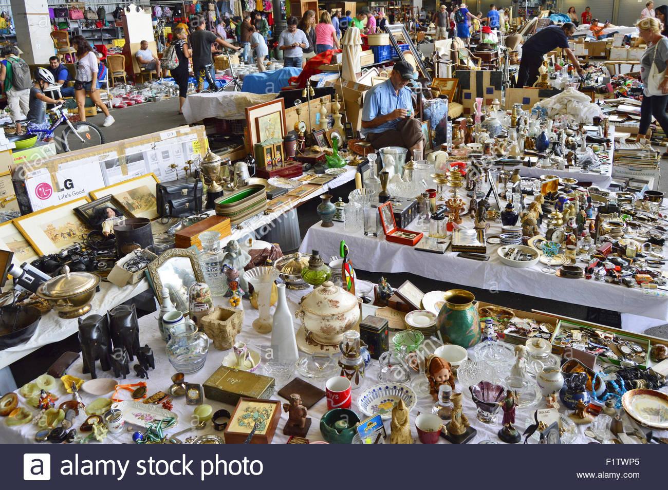 Els Encants Vells flea market in Barcelona Catalonia Spain Europe - Stock Image