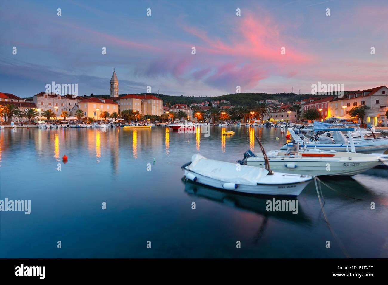 Supetar on island Brac at sunset. - Stock Image