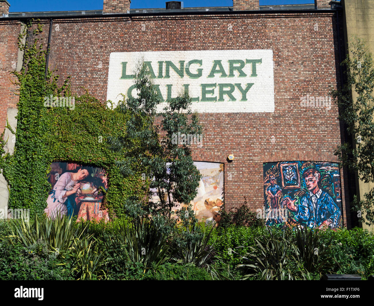 mural on side of Laing Art Gallery Newcastle upon Tyne England Stock Photo