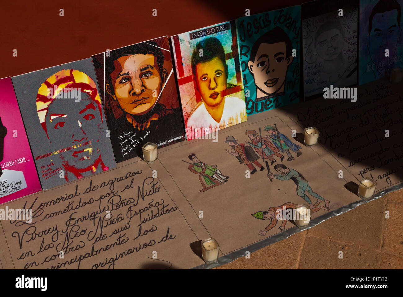 Paintings of the MEXICAN STUDENTS who were killed and dissapeard  in 2014-  OAXACA - Stock Image
