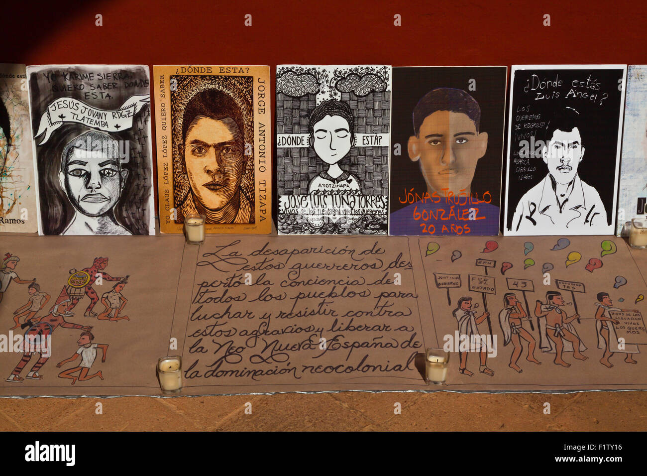 Paintings of the MEXICAN STUDENTS who were killed and disappeared  in 2014 -  OAXACA - Stock Image