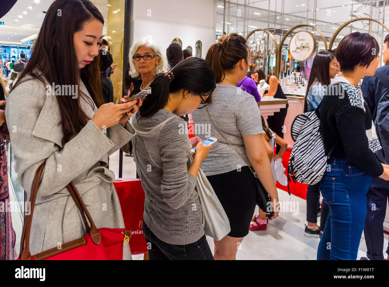 Amazing Paris, France, Group Chinese Teenagers, Tourists Queuing, Shopping In  French Department Store