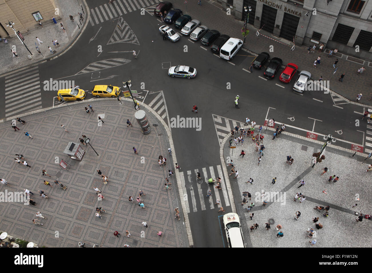 Aerial view of the K-shape crossroad in Republic Square in Prague, Czech Republic. - Stock Image