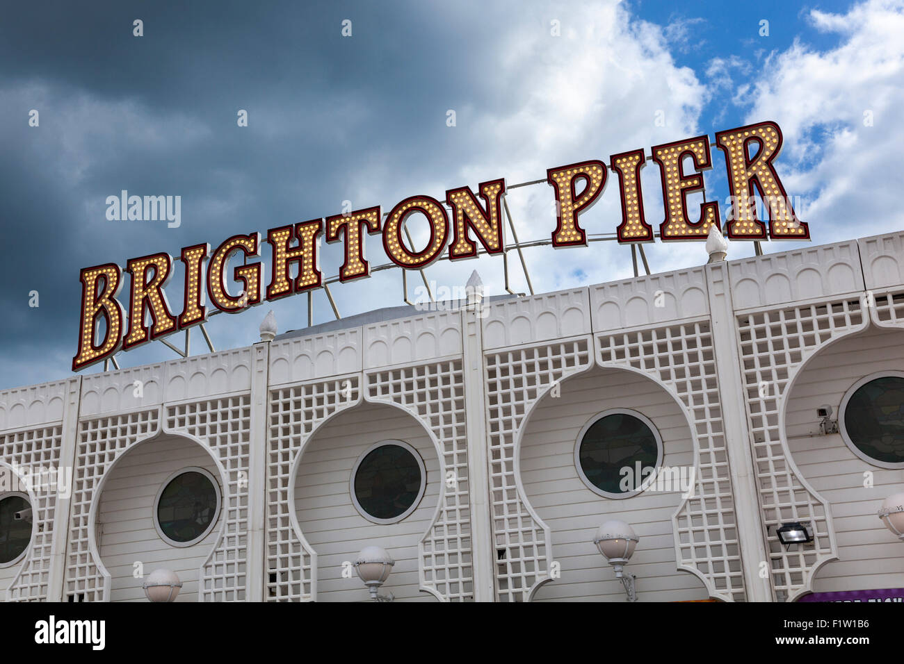 Brighton Pier sign, Brighton, UK - Stock Image