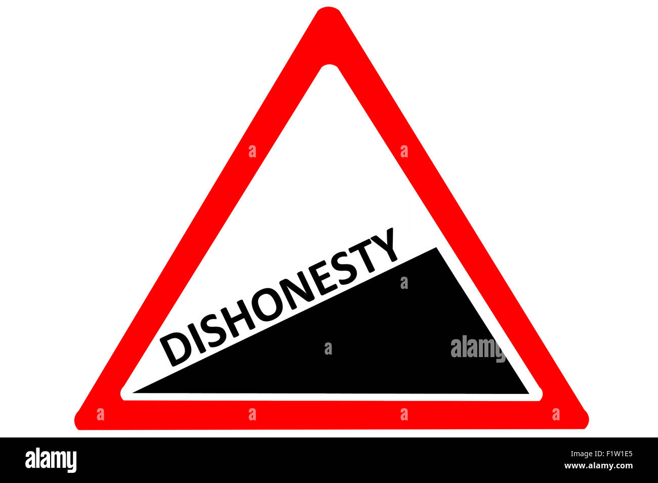 Dishonesty increasing warning road sign Red and White Triangle  isolated on a white background - Stock Image