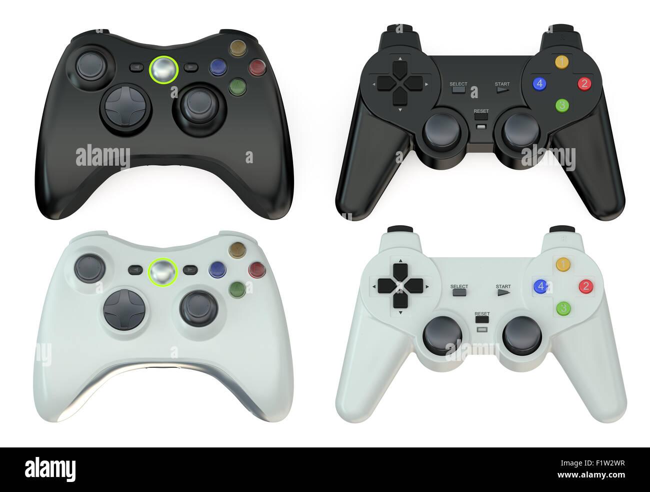 set of gamepads  isolated on white background - Stock Image
