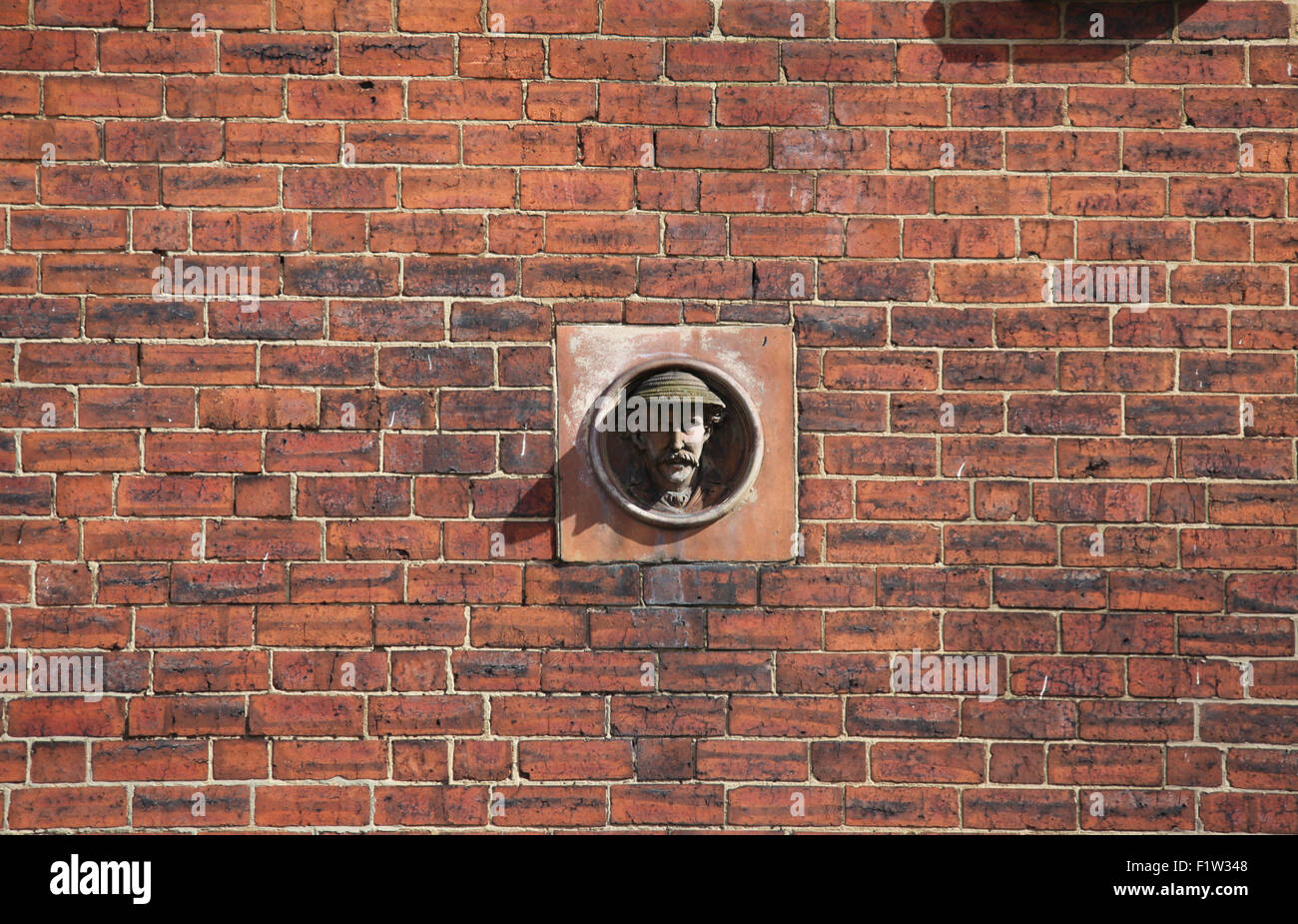 Stone head on terraced houses at Abbeydale Road in Sheffield - Stock Image
