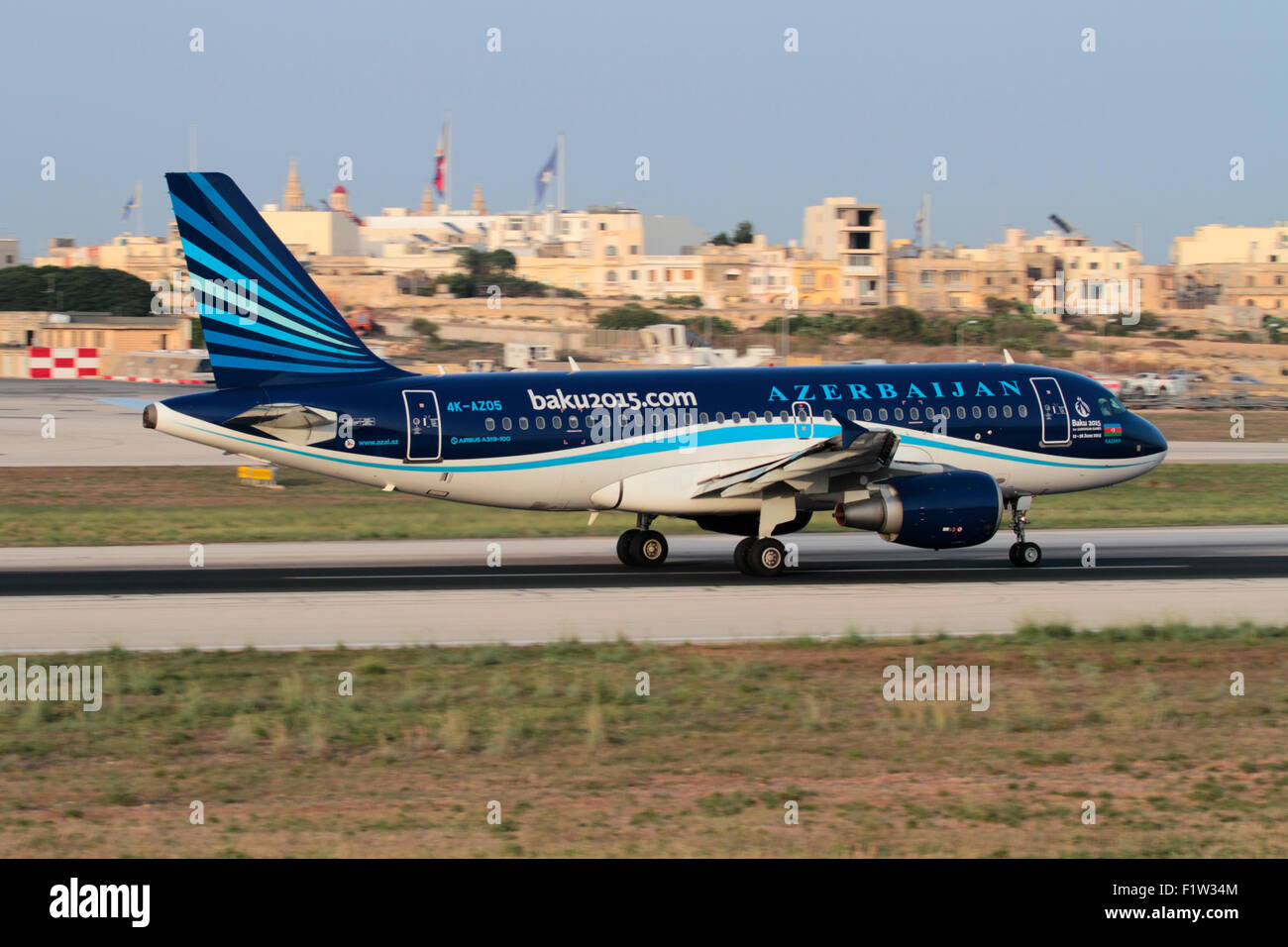 Civil aviation. Azerbaijan Airlines Airbus A319 departing from Malta - Stock Image
