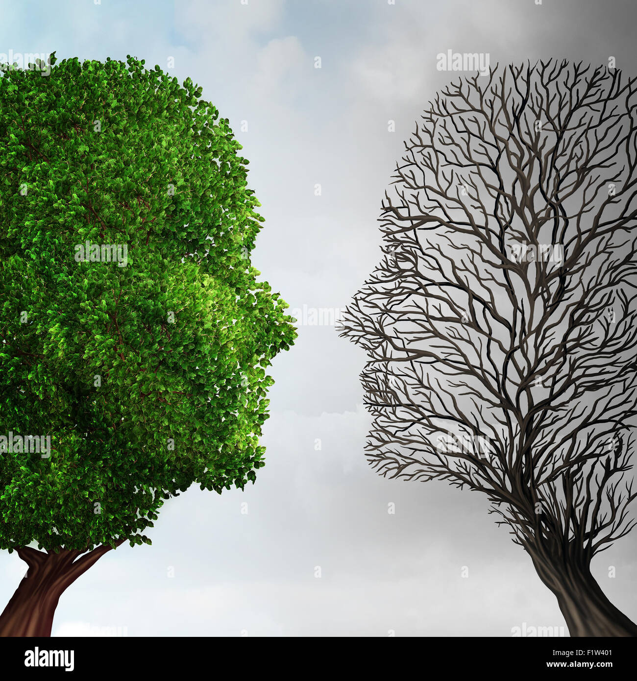 Social ecology and environment change or global warming environmental concept as a scene cut in two with half showing - Stock Image