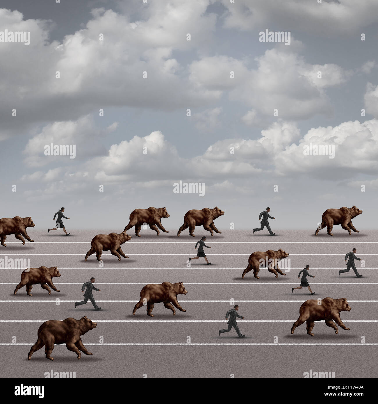 Bear market run business concept as a symbol for declining stock market loss and economy risk as a group of bears - Stock Image