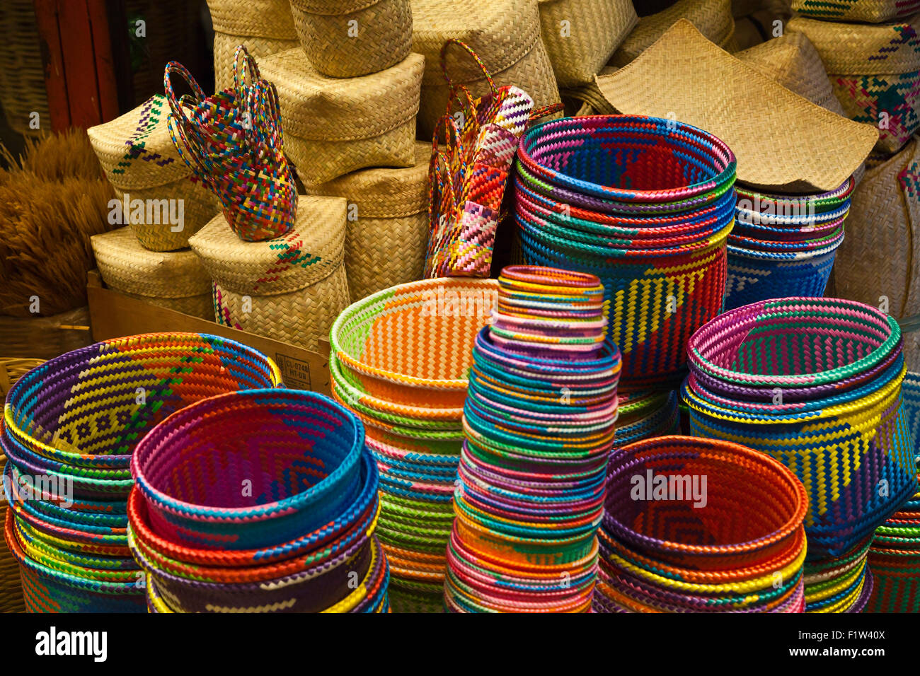 Hand Woven Baskets Sale In Market Stock Photos & Hand Woven Baskets ...