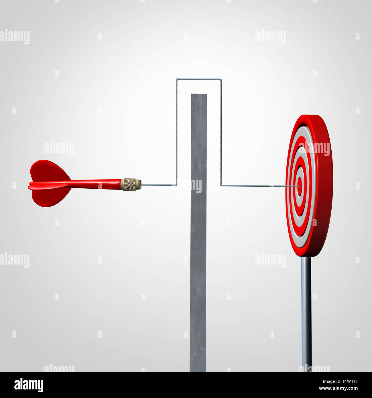 Around a barrier business concept as a red dart solving an obstacle problem by averting a wall and hitting the target - Stock Image