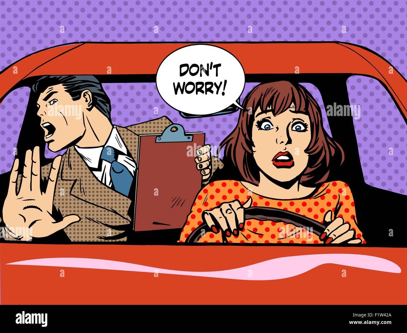 woman driver driving school panic calm - Stock Vector