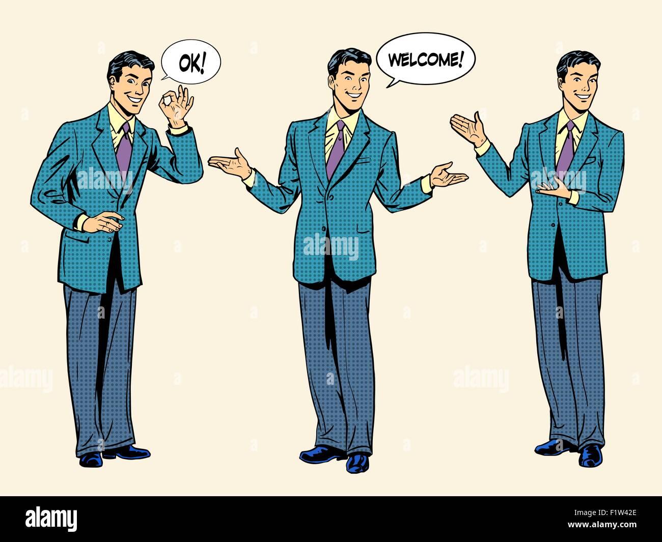 set of businessman presentation show welcome - Stock Vector