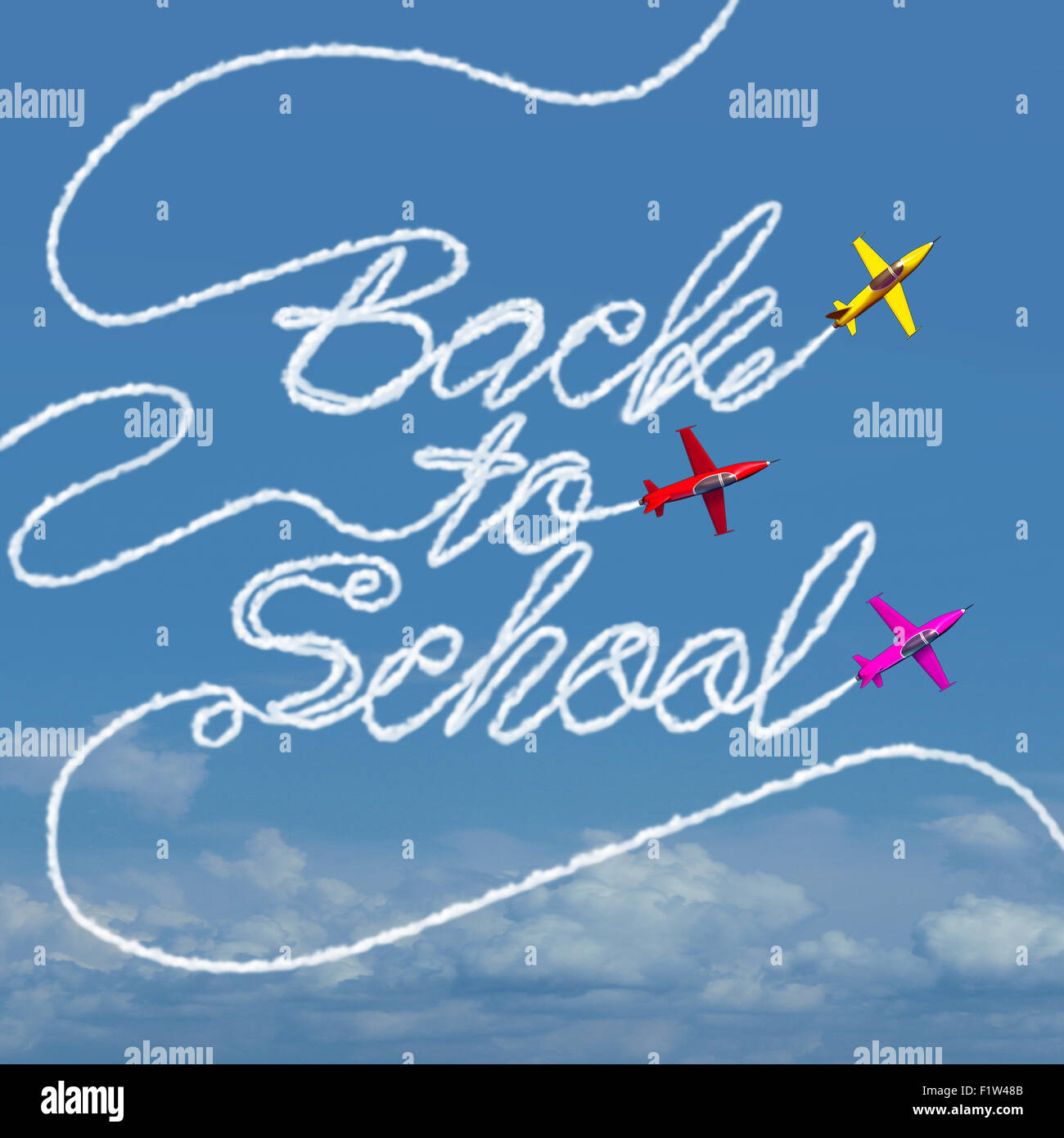 Back to school celebration symbol and taking flight concept as a group of airplanes creating a smoke trail shaped - Stock Image
