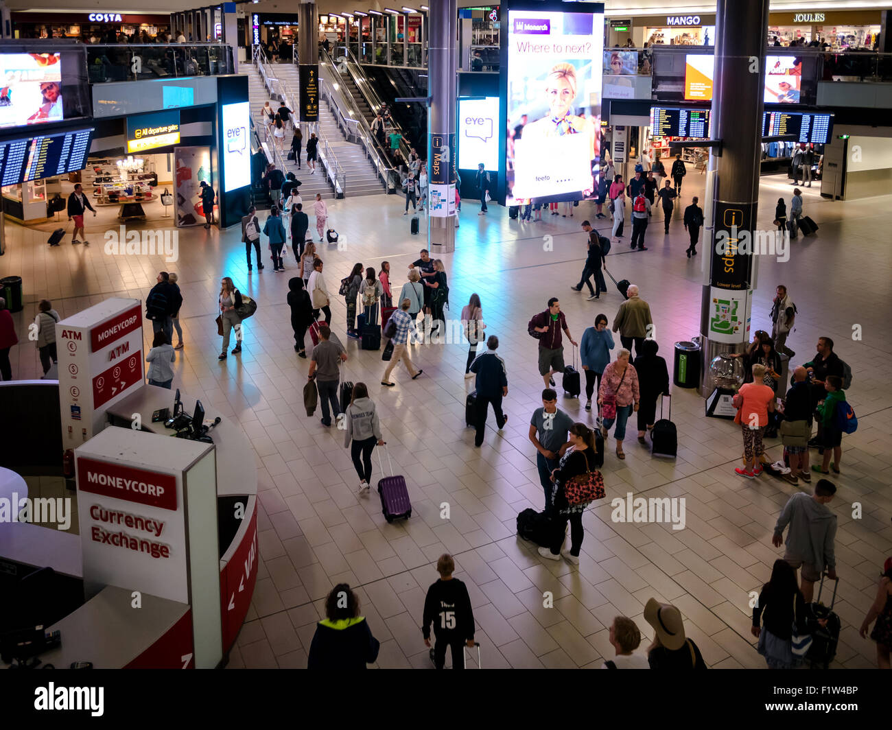 The departure hall of Gatwick Airport, North Terminal, London, England - Stock Image