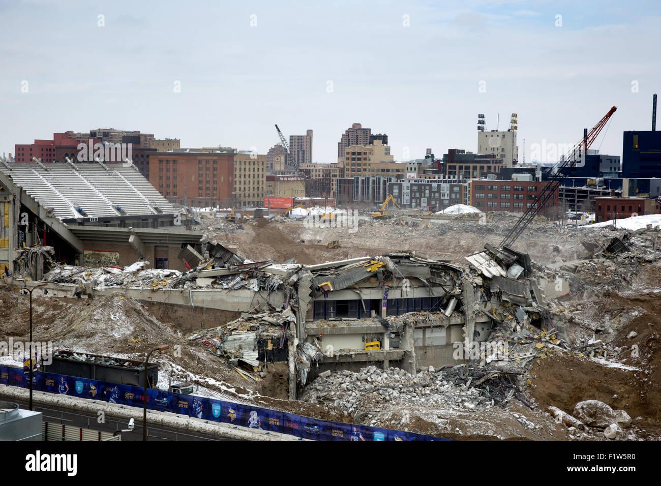 Demolition of the Hubert H. Humphrey Metrodome - Stock Image