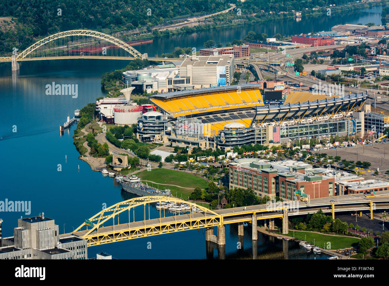 An aerial view of Heinz Field and the Fort Duquesne Bridge, and the West End Bridge - Pittsburgh, Pennsylvania. - Stock Image