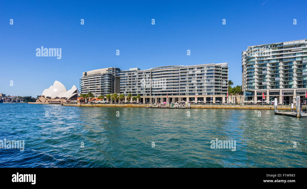 Australia, New South Wales, Sydney, view of Sydney Cove with Sydney Opera House at Bennelong Point and Circular - Stock Image